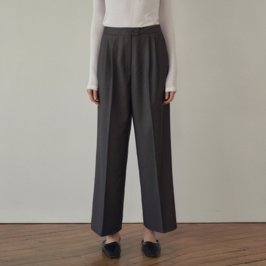 Two pintuck Slacks - Gray