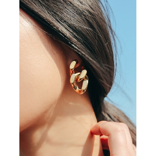 BOLD CHAIN EARRING GOLD