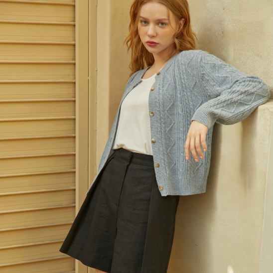 Cable Twist Round Wool Cardigan Skyblue