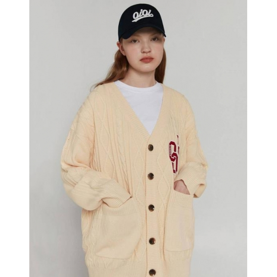 OVERSIZED CABLE KNIT CARDIGAN [CREAM]