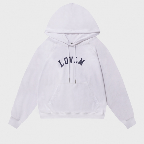 COVER STITCH PRINTED HOODIE_WHITE