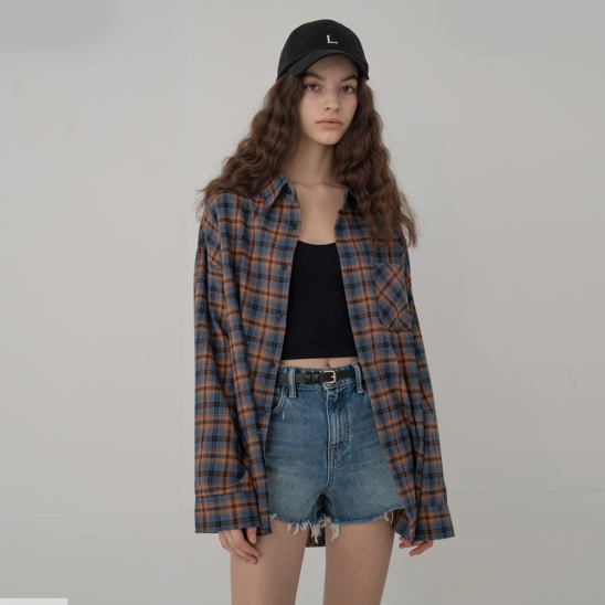 OVERFIT OUTSTANDING CHECK SHIRT_BROWN