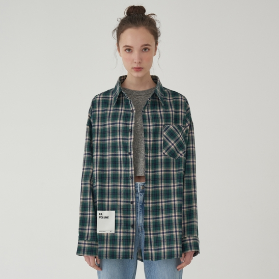 OVERFIT OUTSTANDING CHECK SHIRT_GREEN