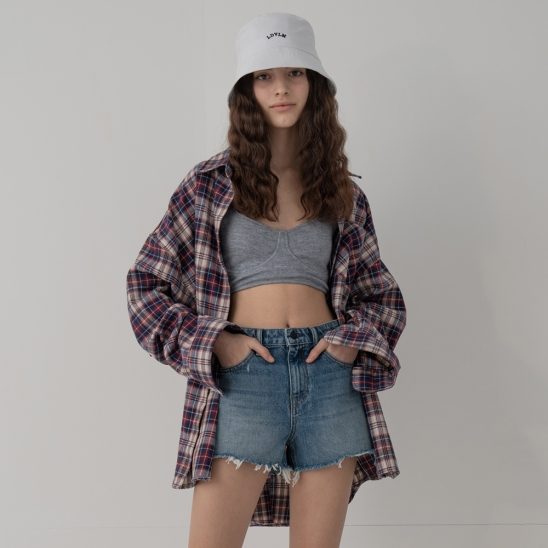 OVERFIT FLEX CHECK SHIRTS_PURPLE