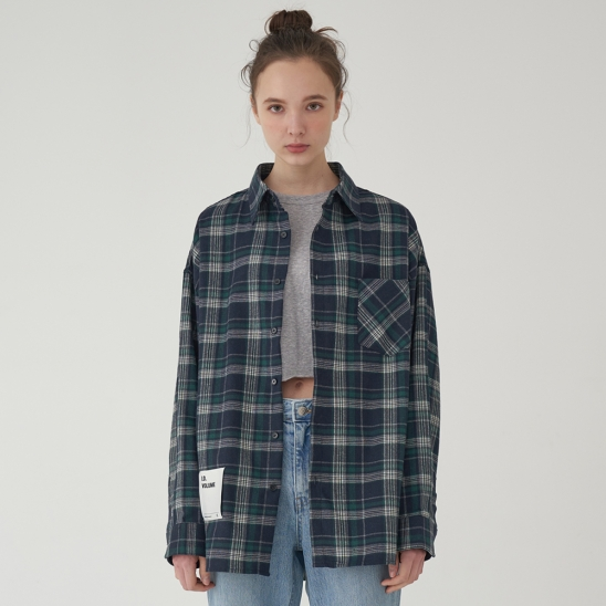 OVERFIT CLASSIC CHECK SHIRT_GREEN