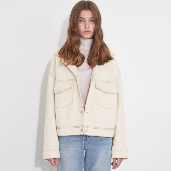 CROP WOOL CROSS JACKET_IVORY