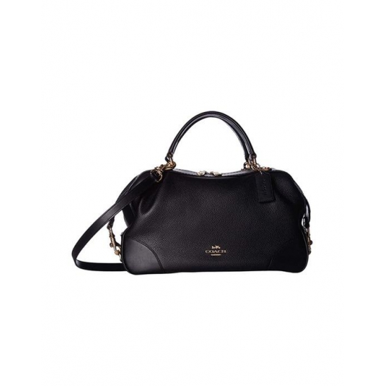 코치 Polished Pebble Leather Lane Satchel Black