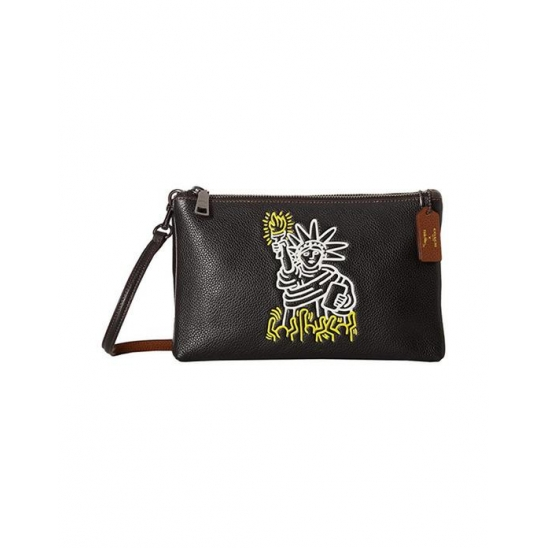 코치 Keith Haring Pebbled Leather Lyla Black