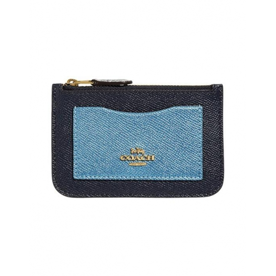 코치 Metallic Color-Block Zip Top Card Case Mid
