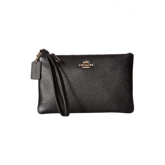 코치 Box Program Small Wristlet LI Black