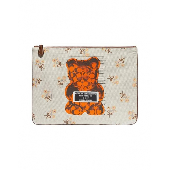 코치 Gummy Bear Canvas Large Wristlet Chalk Mul