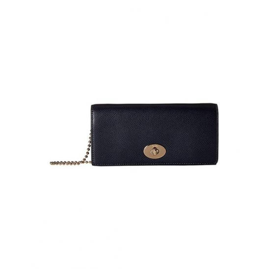 코치 Crossgrain Leather Slim Envelope Midnight