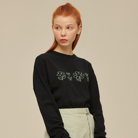 Flower Drawing Knit [NAVY]