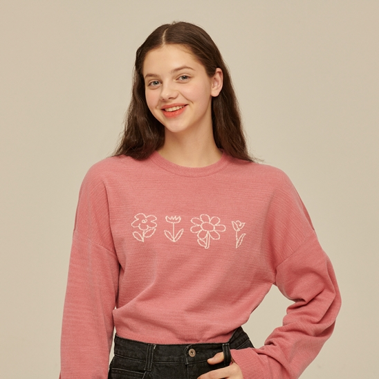 Flower Drawing Knit [PINK]