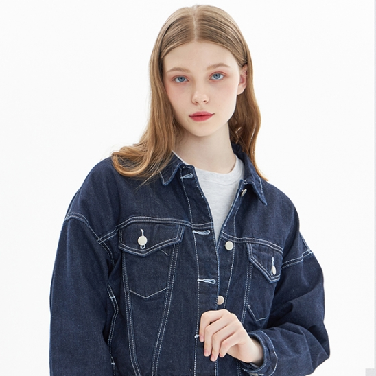 CROPPED DENIM JACKET_NAVY