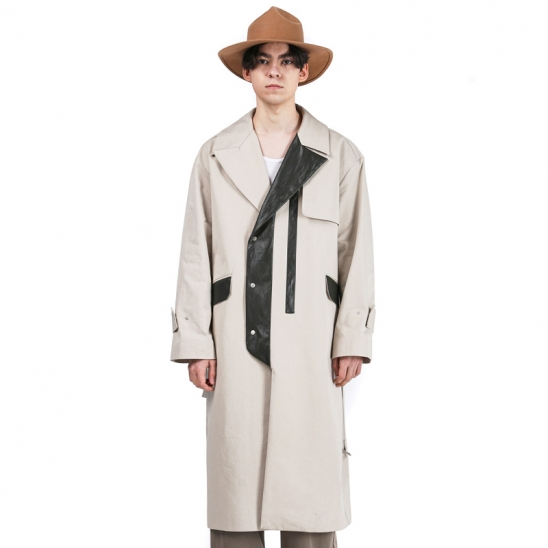 leather pointed single coat (Beige)