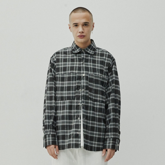 POCKET CHECK SHIRTS black/wh