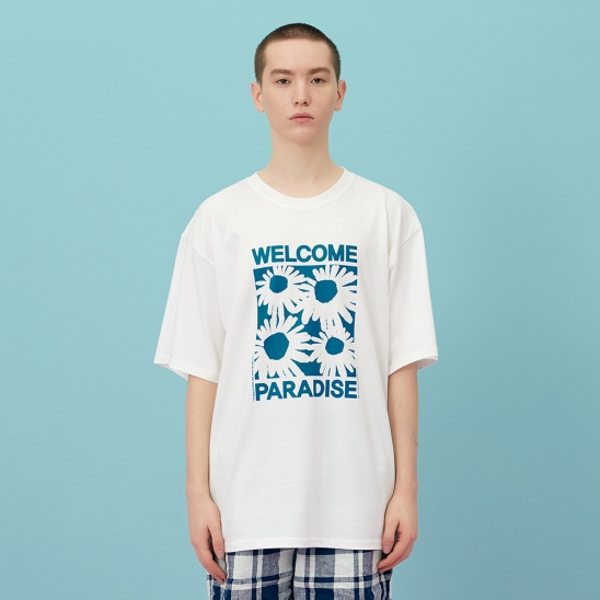 WELCOME PARADISE HALF-T blue flower