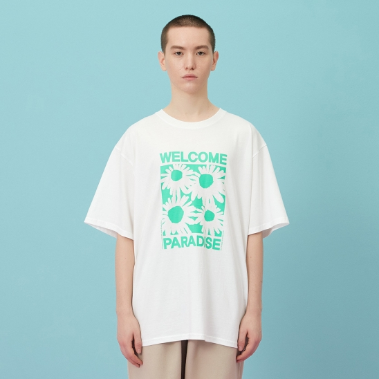 WELCOME PARADISE HALF-T green flower