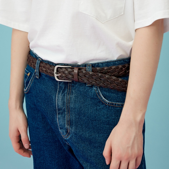 REAL LEATHER MESH BELT brown