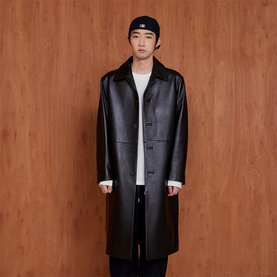 LEATHER SINGLE COAT black