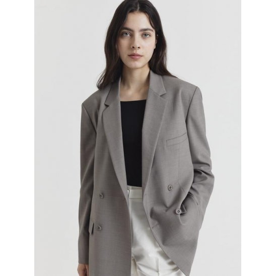 UNISEX RELAXED DOUBLE-BREASTED COOL-WOOL BLAZER ETOUPE