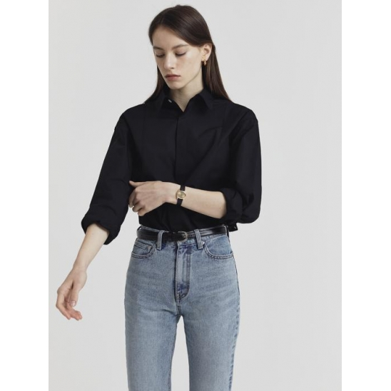 UNISEX CREASE COTTON REGULAR SHIRT BLACK