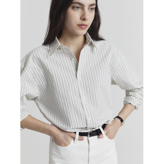 UNISEX STRIPED REGULAR SHIRT SEERSUCKER CREAM