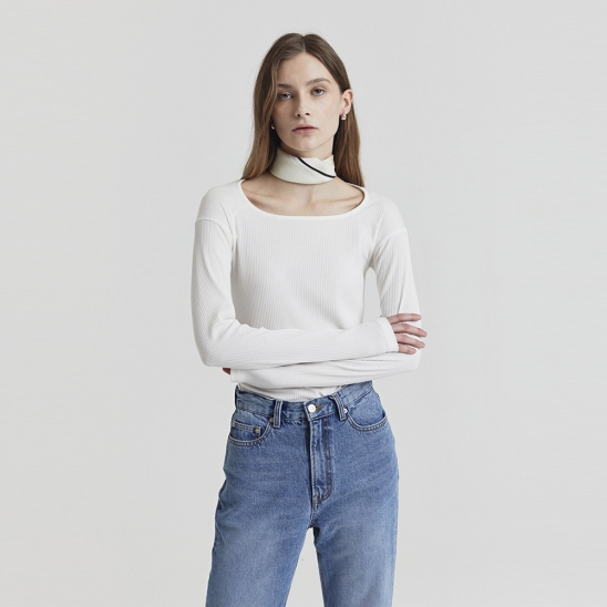 RIBBED MODAL-BLEND TOP OFF WHITE_UDTS1E201OW