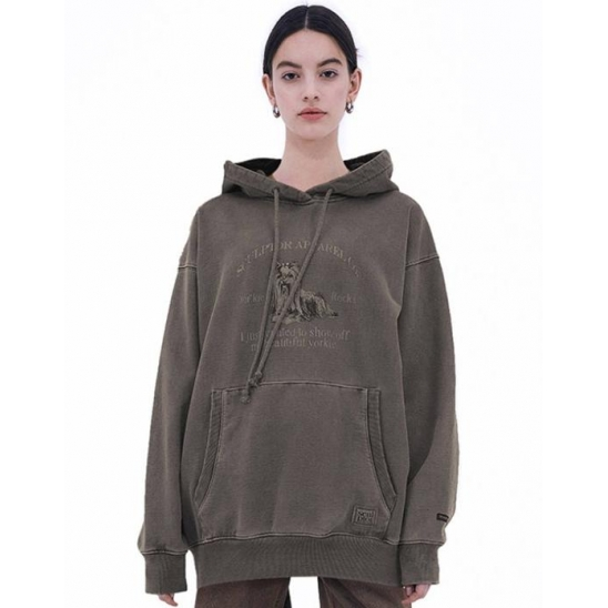 Yorkie Garment Dying Hoodie Washed ash