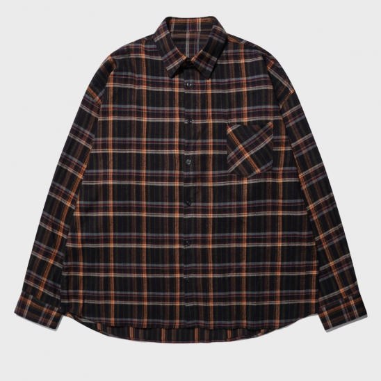 OVERFIT FRANEL WINDOW PANE CHECK SHIRT_BROWN