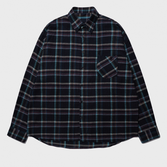 OVERFIT FRANEL WINDOW PANE CHECK SHIRT_NAVY