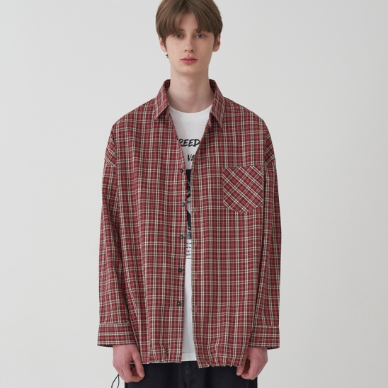 OVERFIT CHECK BANDING SHIRT_RED