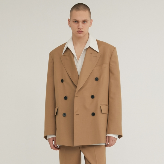 DOUBLE BREASTED TAILORED WOOL BLAZER BEIGE