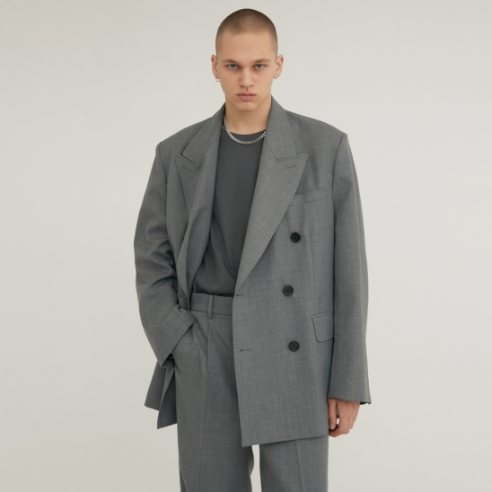 DOUBLE BREASTED TAILORED WOOL BLAZER GRAY