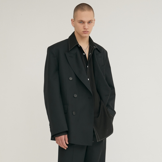 DOUBLE BREASTED TAILORED WOOL BLAZER BLACK