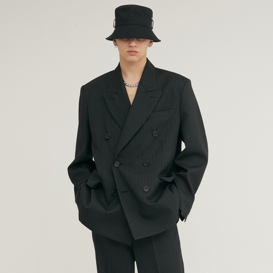 PIN STRIPE DOUBLE BREASTED TAILORED WOOL BLAZER BLACK