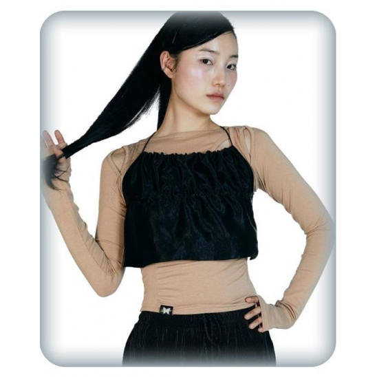 CUT-OUT SHIRRING TOP [BEIGE]