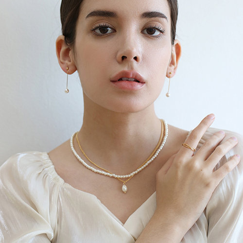 chain layered pearl necklace N021