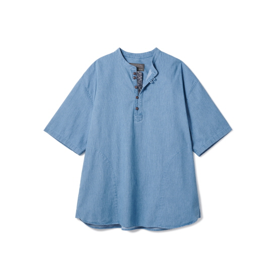 Loop Button Washed Half Shirts Light Blue