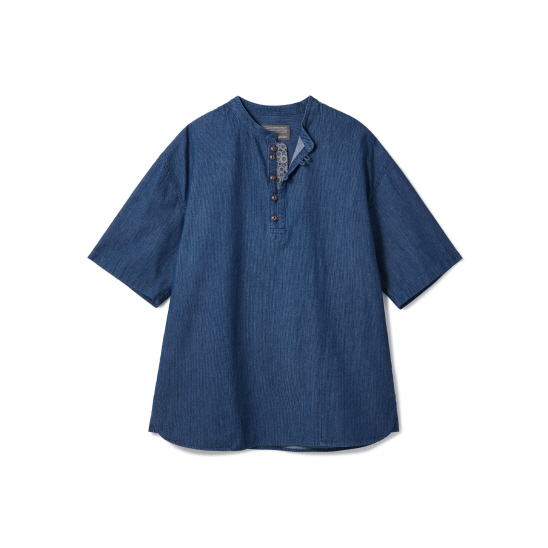 Loop Button Washed Half Shirts Middle Blue