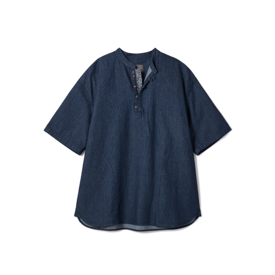Loop Button Washed Half Shirts Deep Blue