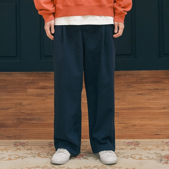 WIDE BANDING COTTON PANTS navy