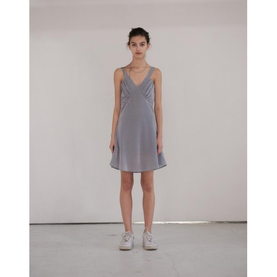 CHEST SHIRRING ONE PIECE (GRAY)