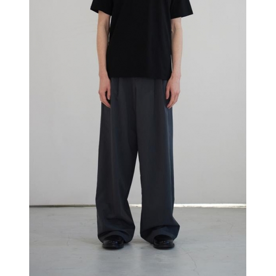 TWO TUCK WIDE PANTS (CHARCOAL)