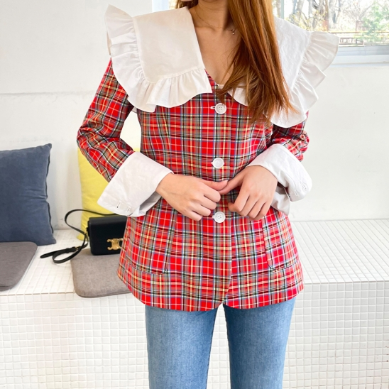 Telling check sailor jacket - red