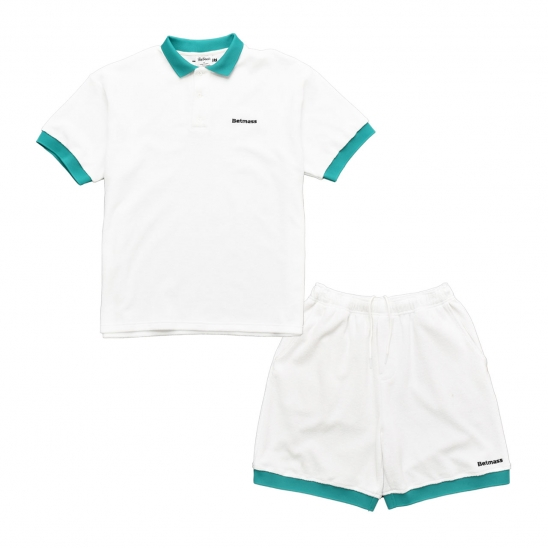 TERRY COLLAR T-SHIRT SET UP (WHITE)