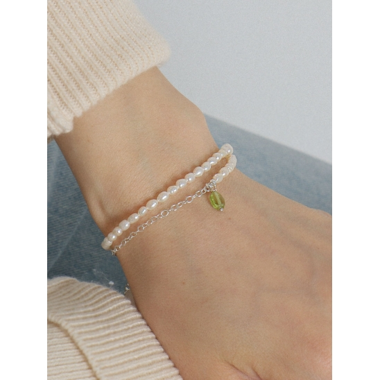 [유니제이] Wrapping Fresh Water Pearl & Peridot Point Silver Bracelet Ib128 [Silver]