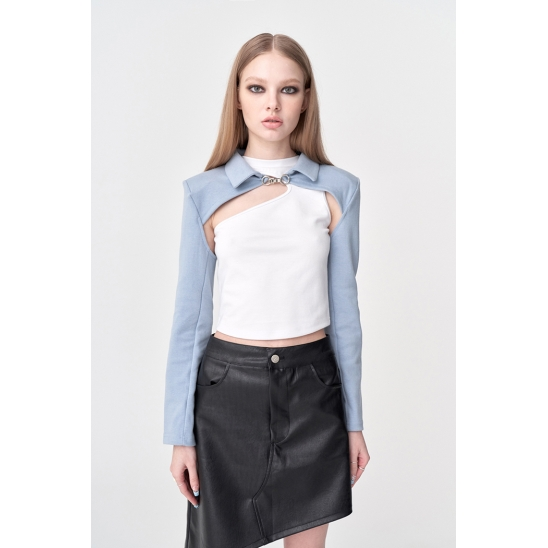L.e.e.y Layered Cropped Hook Shirt (3 colors)