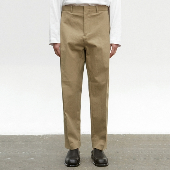 COTTON TAPERED PANTS_BEIGE